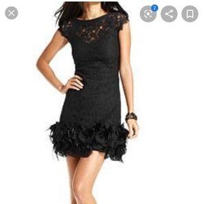 Jessica Simpson black lace feather mini dress 8